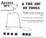 "A beautifully illustrated resource which aims to provide children and young people with easy to access information about how to choose AND use the right tool for the right job.  [themify_button style=""xlarge block"" link=""https://www.accessart.org.uk/the-abc-of-tools-pdf-download/"" color=""#d1cf30"" text=""#000000""]Download the PDF![/themify_button]"