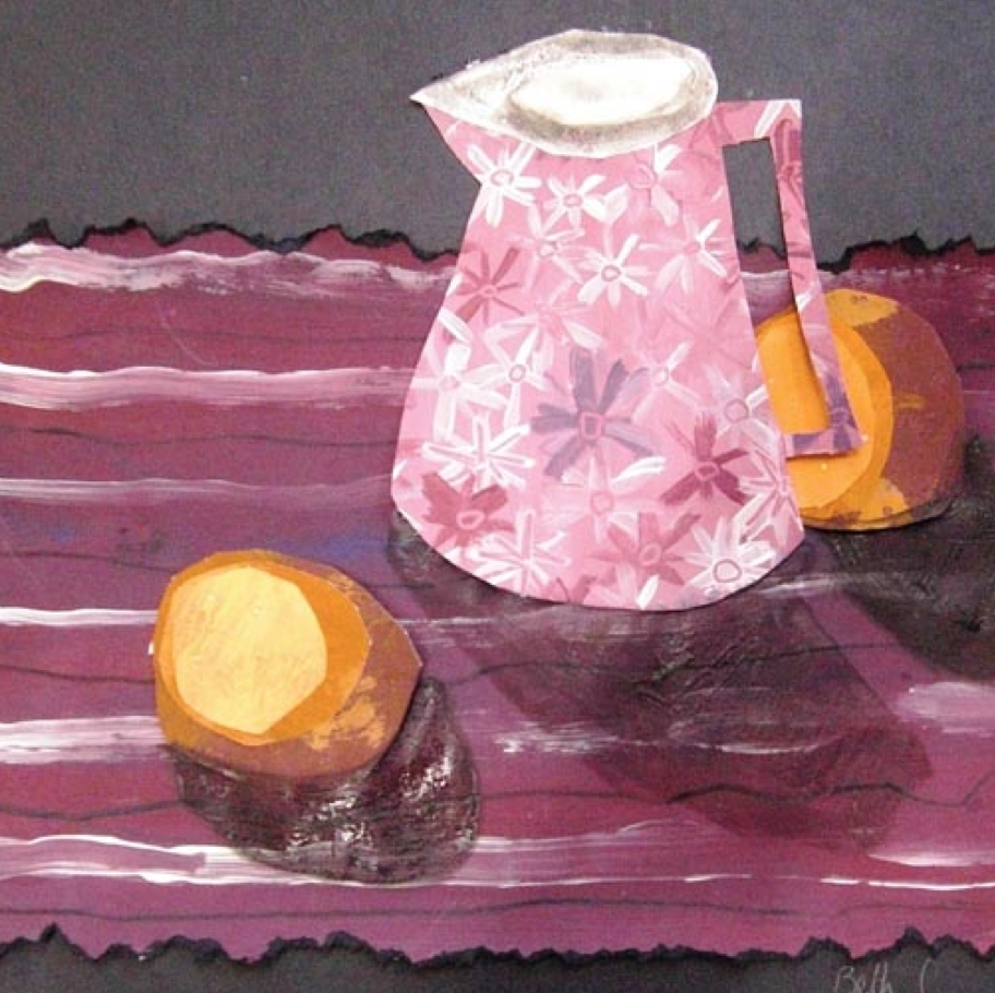 This exciting resource from educator Maureen Crosbie explores still life composition using collage.  Papers are decorated by hand using colours, patterns and textures taken from objects in a still life set up.  These are torn into simple shapes to compose a beautiful still life picture, with finer details added in paint.