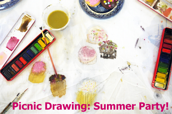 Paula Briggs says : 'What better on a hot summer's evening to draw a picnic? (And then eat it!)'.
