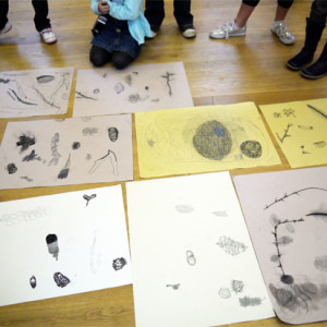 Continuous line drawing to improve observation, followed by a materials exploration to create textural drawings.