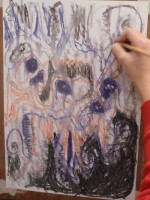 Drawing with coloured pastels