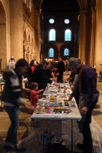 Friends and family of David Measures painting in Southwell Minster