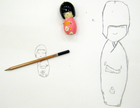 Sketch of Japanese Doll