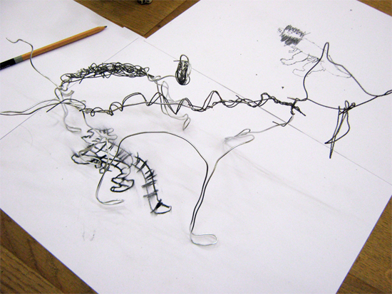 Drawing with Wire like Calder: Wire Tiger