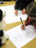Continuous line drawing of a dog