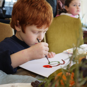 A simple painting workshop with no teaching involved!  In a supportive atmosphere, childen are guided and encouraged to explore their latent creative skills to produce a colourful still life in acrylic paint.