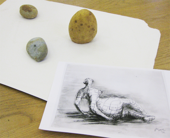 "A fun session using the drawings of the sculptor Henry Moore to explore drawings with mass and volume.  Potates and pebbles are drawn using wax resist, ink and graphite to capture the weight of the objects.The second challenge is to make tiny playmobil figures monumental through drawing. [themify_button style=""xlarge block"" link=""https://www.accessart.org.uk/drawings-with-mass-potatoes-playmobil-and-henry-moore/"" color=""#78608e"" text=""#ffffff""]Read More[/themify_button]"