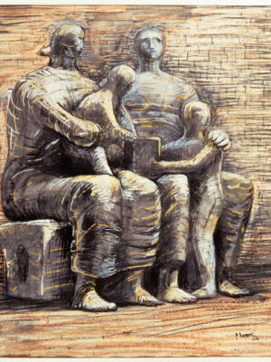 Family Group 1944 HMF 2237a pencil, wax crayon, coloured crayon, watercolour wash, pen and ink 500 x 420mm photo: The Henry Moore Foundation archive