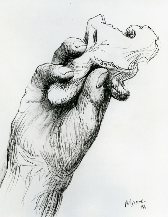 Hand Holding Bone 1981 HMF 81(181) ballpoint pen, conté crayon (rubbed) on Cotman white handmade wove 258 x 199mm photo: The Henry Moore Foundation archive  Reproduced by permission of The Henry Moore Foundation archive