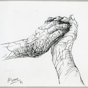 The Artist's Hands 1981 HMF 81(131) pencil, ballpoint pen on Bockingford white wove 227 x 253mm photo: The Henry Moore Foundation archive  Reproduced by permission of The Henry Moore Foundation archive