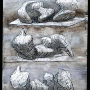 Three Reclining Figures 1975 HMF 75(8) watercolour wash, charcoal, chalk, gouache on blotting paper 263 x 217mm photo: The Henry Moore Foundation archive, Michel Muller  Reproduced by permission of The Henry Moore Foundation archive