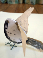 Making birds from card, paper and wire