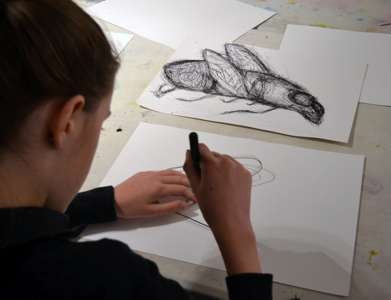 Teenagers from AccessArt's Experimental Drawing Class, experimented with using a black pen to draw insects with Sheila Ceccarelli.