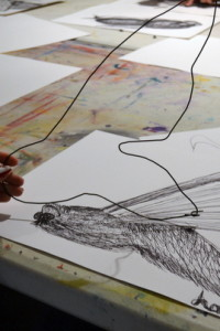 Lottie makes her wire 'drawing' inspired by her continuous line drawing of a moth