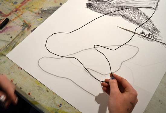 Students use modelling wire to 'draw' an insect from their first drawings in black pen.  The purpose of this exercise was to help them see and draw form and to think about the quality of line achievable in black pen. It was also an exercise in simple abstraction or simplification of subject matter.
