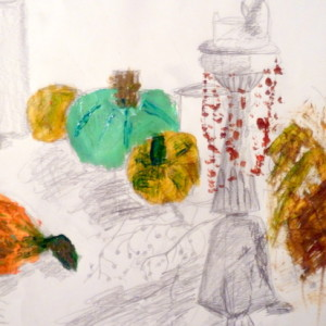 This resource includes a warm up exercise using continuous line to create drawings on a large scale.  A theatrical Halloween still life enables students to experiment with composition, mass, line and colour, combining mark making using acrylic paint and graphite to create lively drawings.