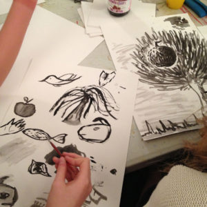 Drawing with Indian ink
