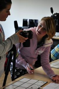 Girls working on animation workshop