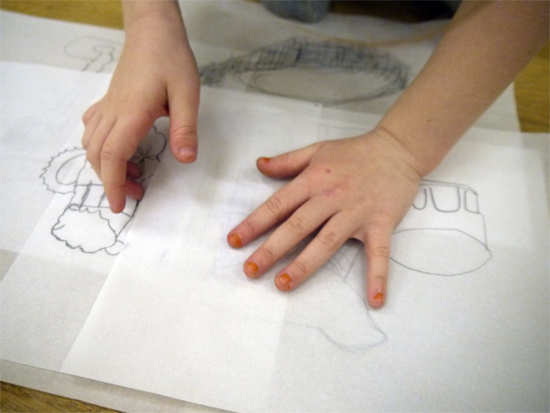 Using tracing paper to make a layered, communal, drawing of a glass still life. Encourages children to think about composition as well as observation.