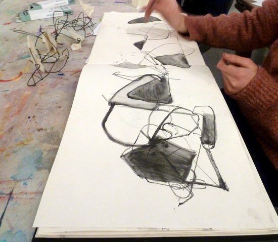 Teenagers used wire to let the drawing process feed the making process and vice versa. By Sheila Ceccarelli