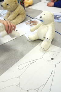 Backwards forwards sketch of a toy polar bear