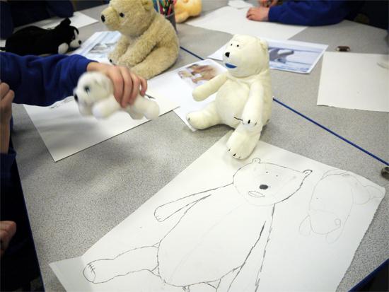 Backwards forwards sketch of a toy polar bear