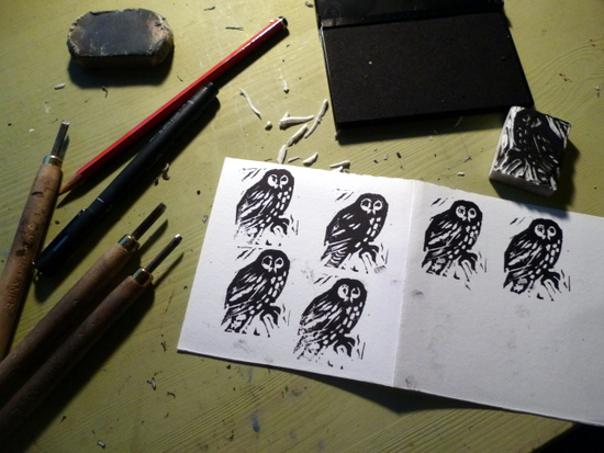 Using linocutting tools to make printing plates from erasers. Simple, repeatable images which can be used to explore pattern or to make logos. Due to the sharp tools suitable for Year 5 children or older.