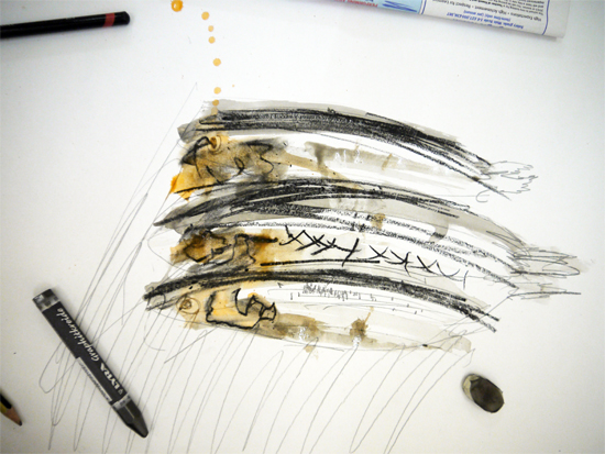 Drawing and collaging fish: drawing of Sprats (graphite, charcoal and watercolour) by Oliver aged 8