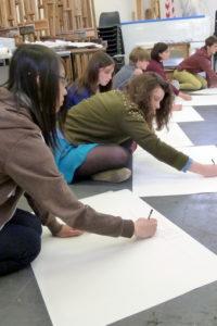 Teenagers drawing space