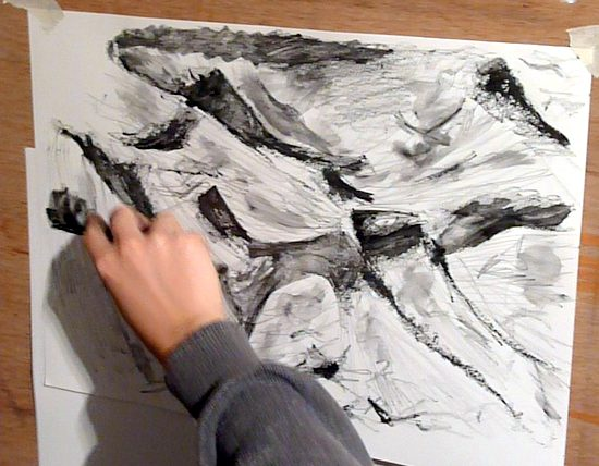 Water soluble graphite: building up a drawing with graphite