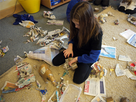 Making the sculptural form with newspaper and tape