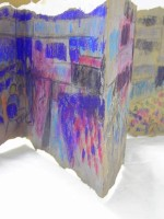 Malcolm Arnold Concertina Sketchbook Washing Powder Box, Household Emulsion, Glue, Oil Pastel, Acrylic Paint, Pencil Work in Progress 2012—2013