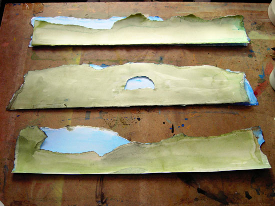 In the Studio: more washes and the layered landscapes are beginning to appear