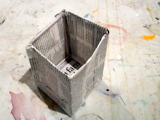 Making sculptures: Mia's final enclosed space: Newspaper and art straws