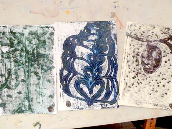 Making Mono Prints: Amy's monoprints