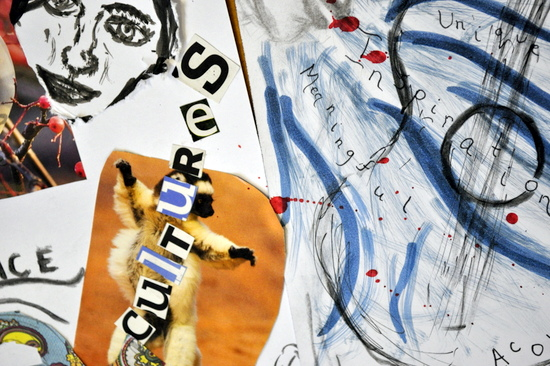 Autobiographical drawing and collage