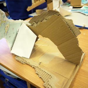 Cardboard, tissue paper and gaffa tape iceberg