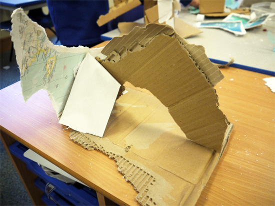 Cardboard, tissue paper and gaffa tape iceberg