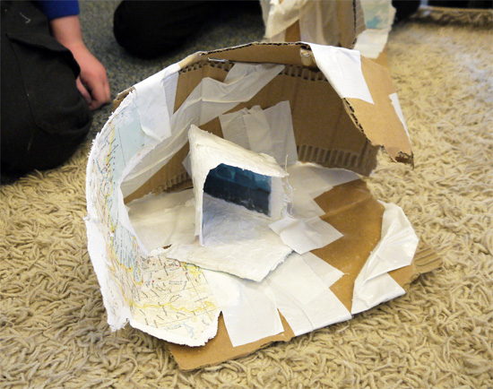 After school art club: cardboard and gaffa tape iceberg