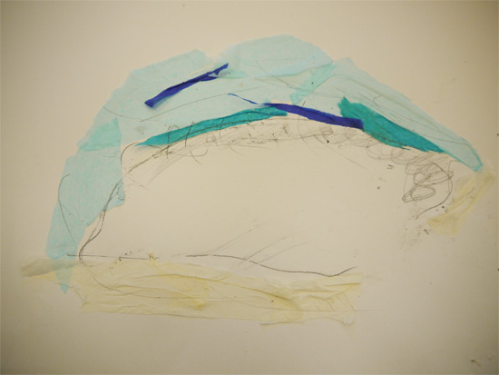 Tissue paper and graphite iceberg collages