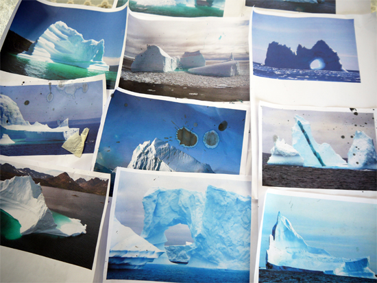 After school art club: Iceberg print outs as source material