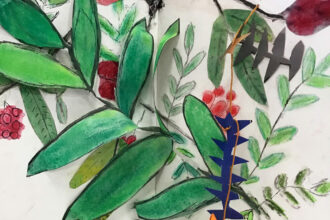 Sketchbook Pages with Observational Drawings and Stencilled Leaves Sewn Together by Joy Johnston