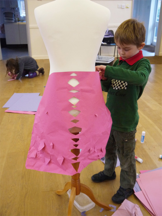 Paper fashion: Cutting paper to create shape