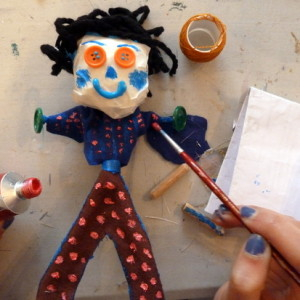Using a variety of cheap materials to make small puppets.