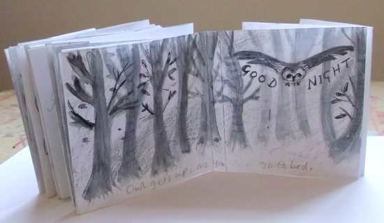 Creating a storyboard: final pages of concertina dummy book - Emma Malfroy