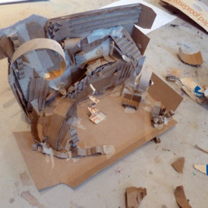 Workshop led by set designer Rachel Thompson where teenagers use text extracts as a starting point to make 'scratch models' or initial three dimensional model sketches for set designs.