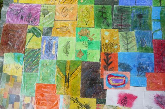 Art week at primary school: Completed image block