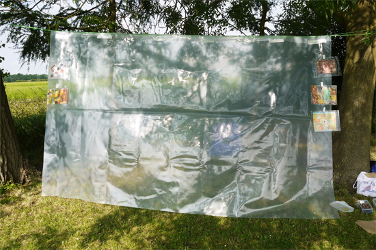 Suspended polythene ready for the collage