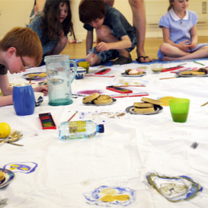 Creating a shared drawing of a picnic rug. Draw the food then eat it!