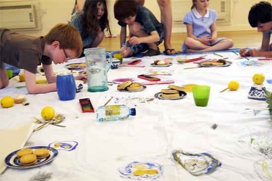 Communal drawing, drawing the picnic!